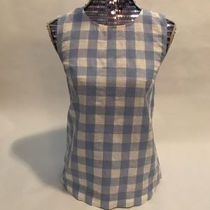 J Crew Gingham Checkered Print Top Size 2